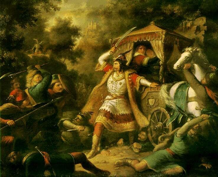Garai Miklós nádor védi Erzsébetet és Máriát (festmény) /Wikipédia/